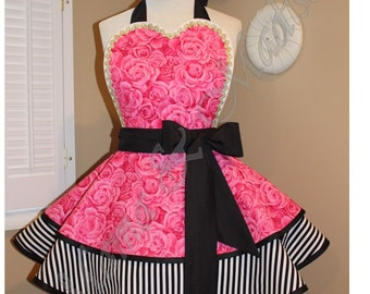 Rose Print Woman's Retro Apron Accented With Black and White Stripes, Featuring Heart Shaped Bib