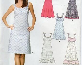 Sleeveless Dress Shoulder Straps Halter Style Optional Ruffle Size 6 8 10 12 14 16 Sundress Sewing Pattern New Look 6676 Plus Size
