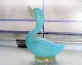 Murano Glass Swan Bird Figurine Blue Lattice and Gold Flakes Vintage 1950s