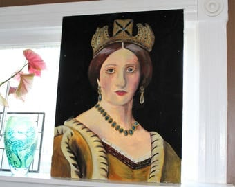 Outsider Art Portrait of a Queen Large Folk Art Painting 29 x 22