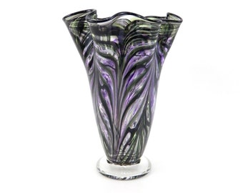 Hand Blown Art Glass Vase in Purple