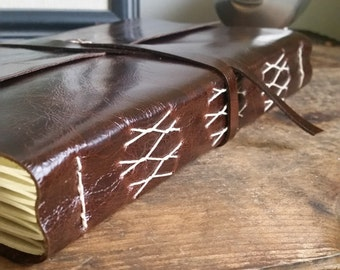 Large Leather Journal, Dark Brown, Hand-Bound 6 x 9 Journal by The Orange Windmill on Etsy 1768