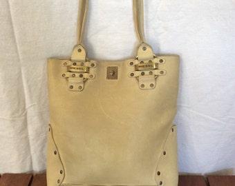 Vintage Diesel light beige studded leather shopping tote bag