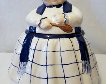 """Grandma with Wooden Spoon Cookie Jar-Ceramic-Cookie Jar - Grandma Cookie Jar - 10""""Tall-Handpainted"""