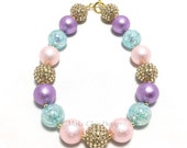 Toddler or Girls Chunky Necklace - Pink, Aqua, Purple and Gold Chunky Necklace - Unicorn Chunky Necklace - Girls Pastel Necklace