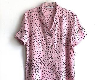 1980s BIBA Blouse - BIBA + Periscop - Baby Pink Silk Leopard Print - Animal Print Blouse - Short Sleeves Summer Shirt - 100% Silk Large