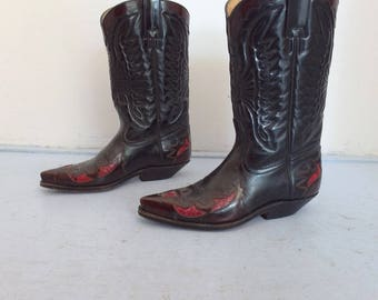 Cowboy Boots - Vintage Cowboy Boots Black Red Snakeprint - Leather Western Boots - Cowboy Boots