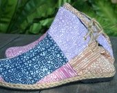 Womens Boots In Ethnic Hmong Pastel Batik Patchwork,  Vegan Ankle Boots - Amber FREE Shipping