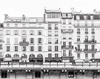 Paris Photo -Across the Seine from Ile de la Cite, Paris Black and White Photography, Home Decor, Large Wall Art, Gallery Wall Art