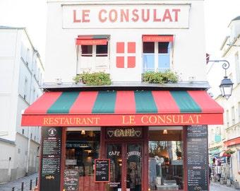 Paris Cafe Photograph, Le Consulat Montmartre, Large Wall Art, French Kitchen Decor, Fine Art Travel Photograph