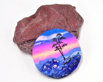 StudioStJames Handcrafted  Clay Statement Cabochon Pendant-34mm-Serengeti-African Landscape-Sunrise-Blue-Yellow Pink-PA 100461