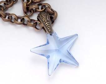 Blue star necklace etsy light blue star necklace blue crystal necklace crystal star pendant nickel free jewelry aloadofball Gallery