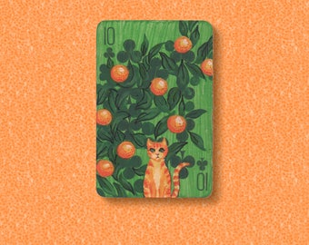 Ginger Cat in an orange grove ACEO. Painted altered vintage playing card, the 10 of Clubs.