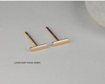 Gold Bar Earrings Solid Gold Earrings Simple Studs 14K Gold Line Earrings Minimalist Gold Jewelry