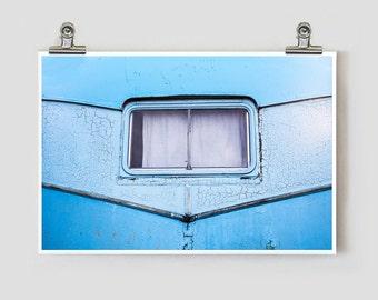 Cerulean Trailer Marfa Texas Modern Fine Art Photograph