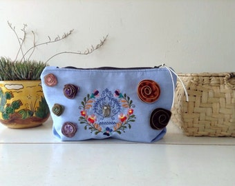 Embroidered clutch, zipper flowers, owl pendant, Blue  Ombre Cotton canvas, Womens gift. Wife gift. Gift for her. Handmade. OOAK