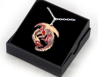 Red/Gold Guardian Pewter Dragon Pendant