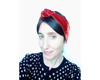 Velvet headband, knot hairpiece, hair accessory, womens headband, knot headband, hair wrap - handmade in solid colors of velvet