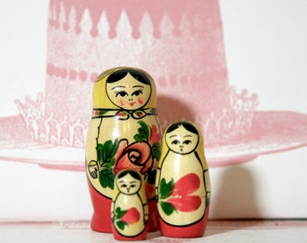 Set Of Three Mini Red Russian Matryoshka doll