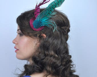 Feather Fascinator in Bright Pink, Purple and Turquoise