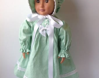 Prairie dress, Little prairie girl, sunbonnet, green dress, 18 inch doll clothes, historical doll clothes, historical fashion