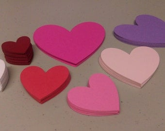 Valentine Heart Cutouts, Heart Die Cuts, 204 Valentine's Day Cardstock Decals, Heart Shaped Cutouts