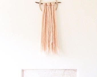 Wall hanging, circle, wool wall hanging, coral