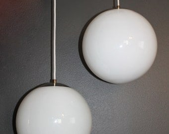 "Mid Century Modern globe pendant light set of 2, 14"" bubble light, brass, Plastic,"