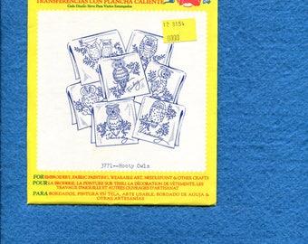 Aunt Martha 3771 Hooty Owls Tea Towel Days of the Week Embroidery Transfer UNCUT UNUSED