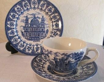 Lady Diana & Prince Charles Royal Wedding Cup Saucer Plate 1981 Trio Broadhurst