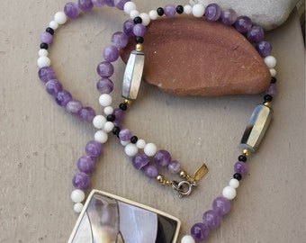 Karla Jordan Shell Inlay and Amethyst Gemstone Pendant Necklace, Purple Amethyst Snow White Quartz Black Onyx Mother of Pearl Shell Jewelry