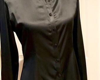 GEORGIOU Studio Women's Black Blouse Silk Satin Button up Long Sleeves Ladies Top Women's XS Size 4