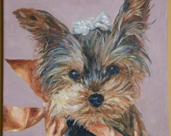 CUSTOM Pet Portrait Oil Painting 12x12 Pet Memorial Birthday Holiday Gift