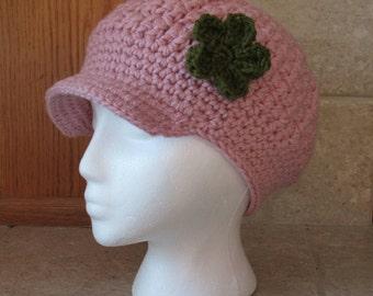 Newsboy Hat, Crochet Newsboy Hat, Knit newsboy cap,  Womens Hat, rose, pink, light pink, green flower, hunter green