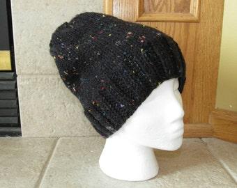 Slouch Hat, Knit hat, Crochet Hat, Tam Hat, Cloche Hat, sprinkles, rainbow, ski hat, retro, black, confetti
