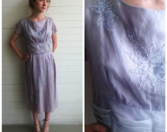 Vintage 50s chiffon mauve dress 1950s dress size small