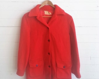 Vintage 1940s 1950s Hudson Bay red wool jacket . Hudson Bay blanket jacket size small
