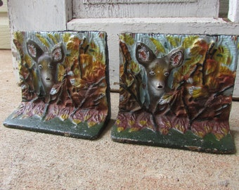 Vintage Deer bookends or door stoppers forest cottage style heavy metal country decor cabin decor