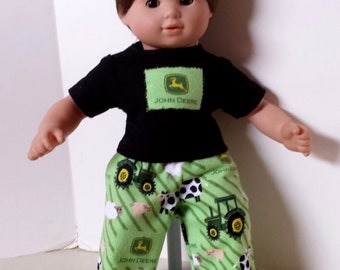 "American Girl 15 ""Bitty Twins Doll Clothing - Green Tractor Farm Flannel Pajamas Boy Twin"