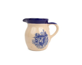 Vintage Cobalt Blue Rooster Pitcher Rooster in Farm Yard Scene Pottery Pitcher Milk Pitcher Country Kitchen Flower Vase Barnyard Creamer