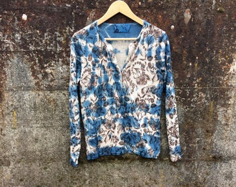 Extra fine Merino sweater size  M/L hand dyed cardigan, indigo dyed button down sweater