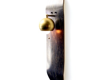 Brass Skate Sconce- Repurposed Skateboard Light- Grey Wood Sconce- Brass Globe Lamp- Upcycled Wall Lamp- Skateboard Decor- FREE SHIPPING
