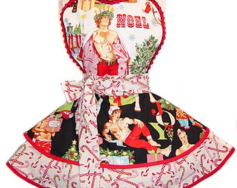 "SALE! LAST ONE! ""Hurry Down the Chimney"" Sexy Pinup Christmas Apron - One-of-A-Kind; Ready To Ship. Only From Tie Me Up Aprons!"