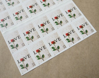 20 pieces - Vintage unused 2001 34 cent Love Letter - Single Rose - postage stamps - great for wedding invitations, save the dates