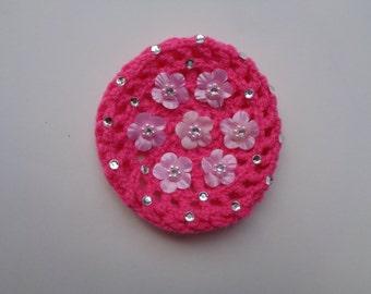 Small Bun Cover with Flowers and Rhinestones, Many Colors, Crochet Bun Cover, Bun Wrap, Bun Holder, Ballet Birthday Gift