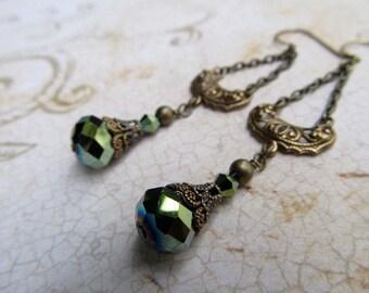 Art Deco Earrings Art Nouveau Earrings 1920s Earrings Miss Fisher Earrings Sage Green Filigree Earrings Olive Green Earrings- Olivia