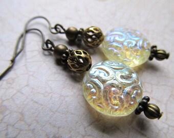 Gothic Earrings Fire Opal Earrings Gold Steampunk Earrings Art Nouveau Earrings Art Deco Earrings 1920s Earrings Ivory Earrings- Merry