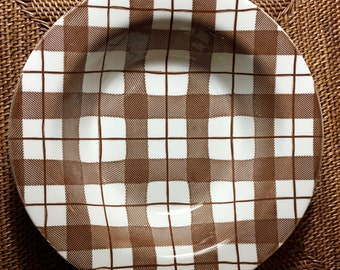 Serving Bowl in Crisp Brown and White Plaid, Royal China Sebring Ohio ca. 1960s