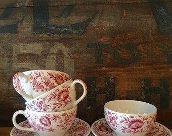 Mayflower Cup and Saucer, Red Transferware by Syracuse China ca 1970s