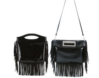 Patent leather top handles ANDREA // black, creased, fringed (Italian calf skin) - FREE shipping, unique bag